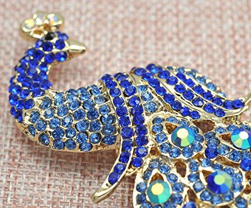 Gyn&Joy Gold-Tone Art Gorgeous Peacock Austrian Crystal Rhinestone Brooch Pins 5 Inch BZ055 (Blue) by Gyn&Joy (Image #2)