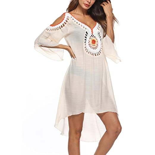c127d6b5208 HTHJSCO Womens Plus Size Cold Shoulder Cover Up Bathing Suit Beachwear  Swimwear Cover-ups (
