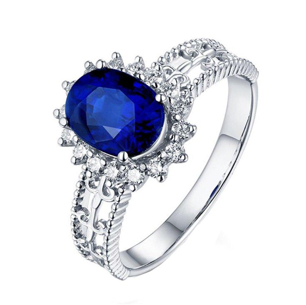 TREESTAR Dos Diamant Bleu Zircon Bague creux Motif homme femme Amour romantique Cristal Bague Petite amie Meilleur Cadeau Femme élégante Bijoux Bague 1pcs, Alliage, bleu, 6#