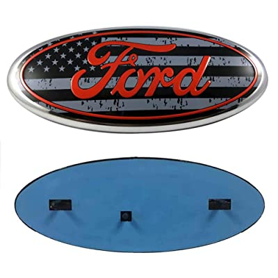 99 Carpro F150 Front Grille Tailgate Emblem for Ford, 9 inch American Flag Oval Decal Badge Nameplate for FORD 2004-2014 F250 F350, 11-14 Edge, 11-16 Explorer, 06-11 Ranger (US Flag Emblem 2): Automotive