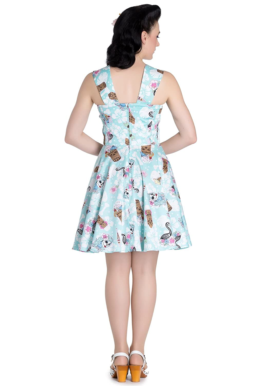 53915c60e7e Hell Bunny Tropical Rockabilly Day Of The Dead Tiki Beach Party Mini Dress  (S) at Amazon Women s Clothing store