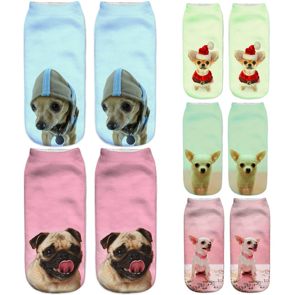 Angelteers Unisex Cute Dog Graphic Ankle Socks 3D Animal No Show Low Cut Socks 5)