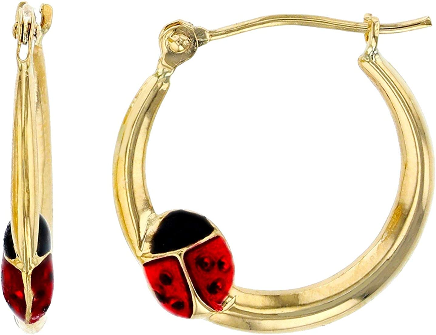 14K Yellow Gold Enamel Lady Bug Hoop Earrings, Stud Earrings and Bracelet For Women | Solid 14K Gold | Made in Italy | Hand Made | Carefully Crafted | Great Gift for all ages