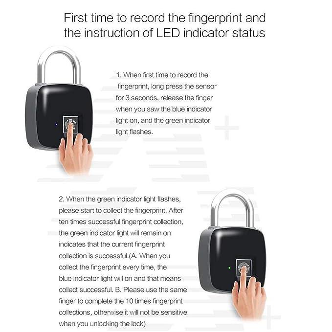 Fingerprint Lock Bike App I Bluetooth Connection Metal Waterproof Gym Office Suitcase Suitable For House Door Backpack