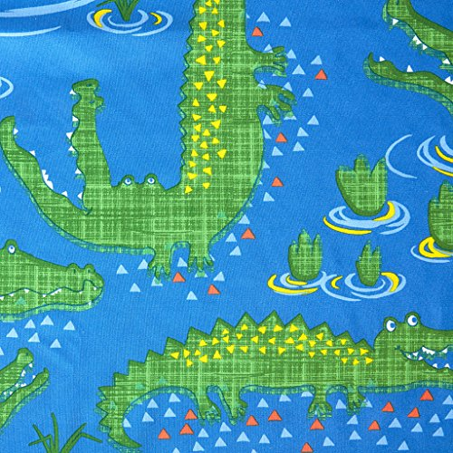 Kyle The Crocodile Kids Shower Curtain, Printed Animal Shower Curtains for Bathroom, 72 X 72, Navy (Mizone Shower Curtain)