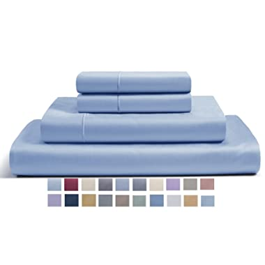 CHATEAU HOME COLLECTION 800-Thread-Count Egyptian Cotton Deep Pocket Sateen Weave Sheet Set (King, French Blue)