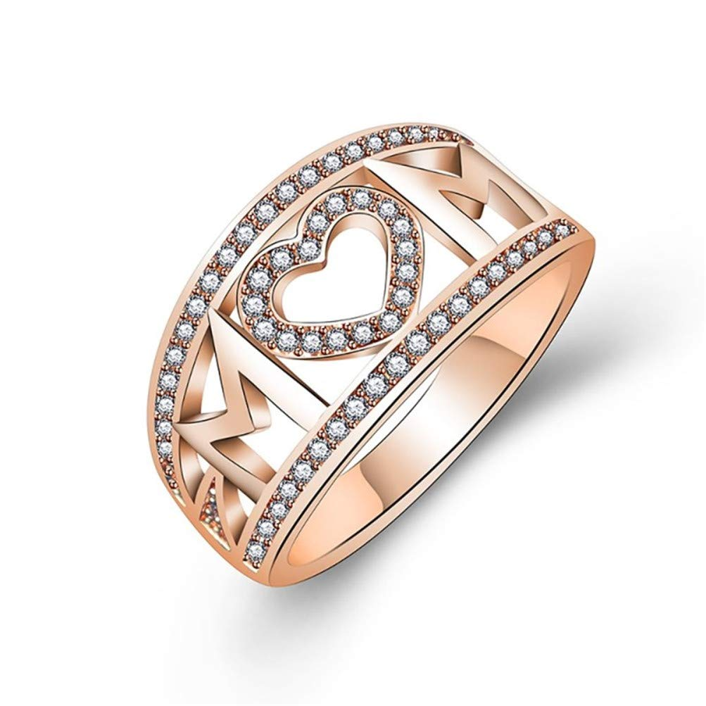 Mom Love Heart Cubic Zircon Ring Rose Gold Plated Mother Birthday Gift