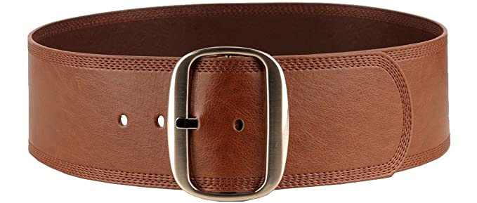 Vintage Wide Belts, Cinch Belts Womens Sleek Faux Leather Belt With Oval Buckle $14.99 AT vintagedancer.com