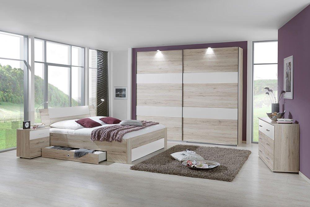 4-tlg-Schlafzimmer in San Remo-Eiche-NB mit Abs in Alpinweiß, Schwebetürenschrank B: 225 cm, Bett mit Schubkästen B: 180 cm, 2 Nachtschränke B: 52 cm