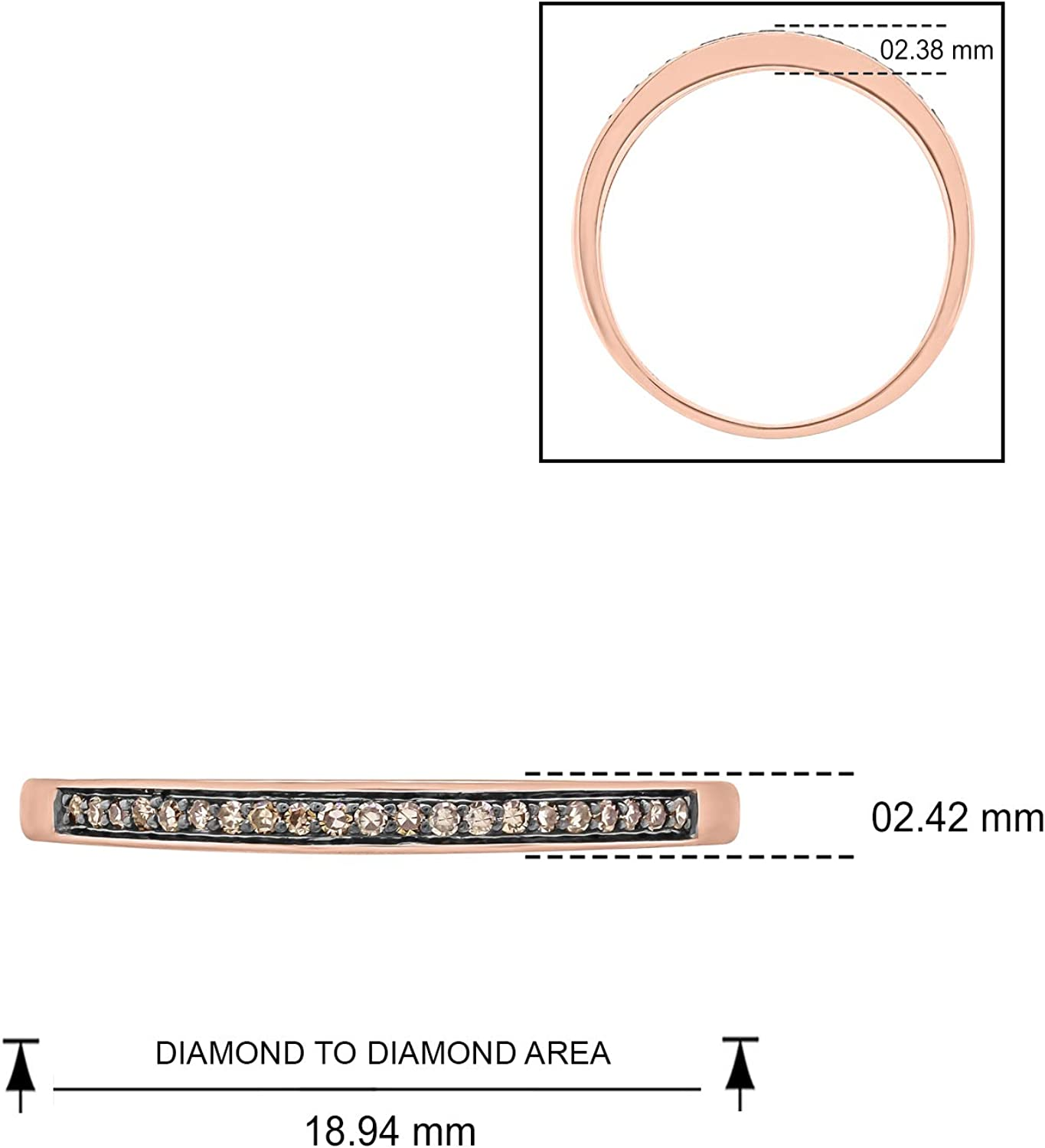 Cali Trove 10K Pink Gold 1//10ct Round Natural Champagne Diamond Stackable Anniversary Ring for Women