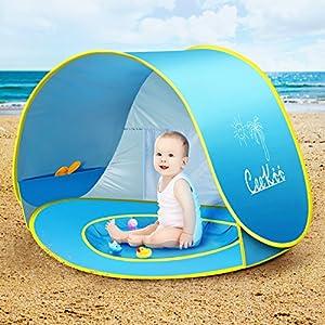 CeeKii Tienda Playa Bebe, Pop-up Tienda de bebé con Piscina para Infantil Carpa Plegable Portátil Protección Solar Anti UV 50, Tienda Campaña Playa para Bebés para Vacación Playa Parque 1