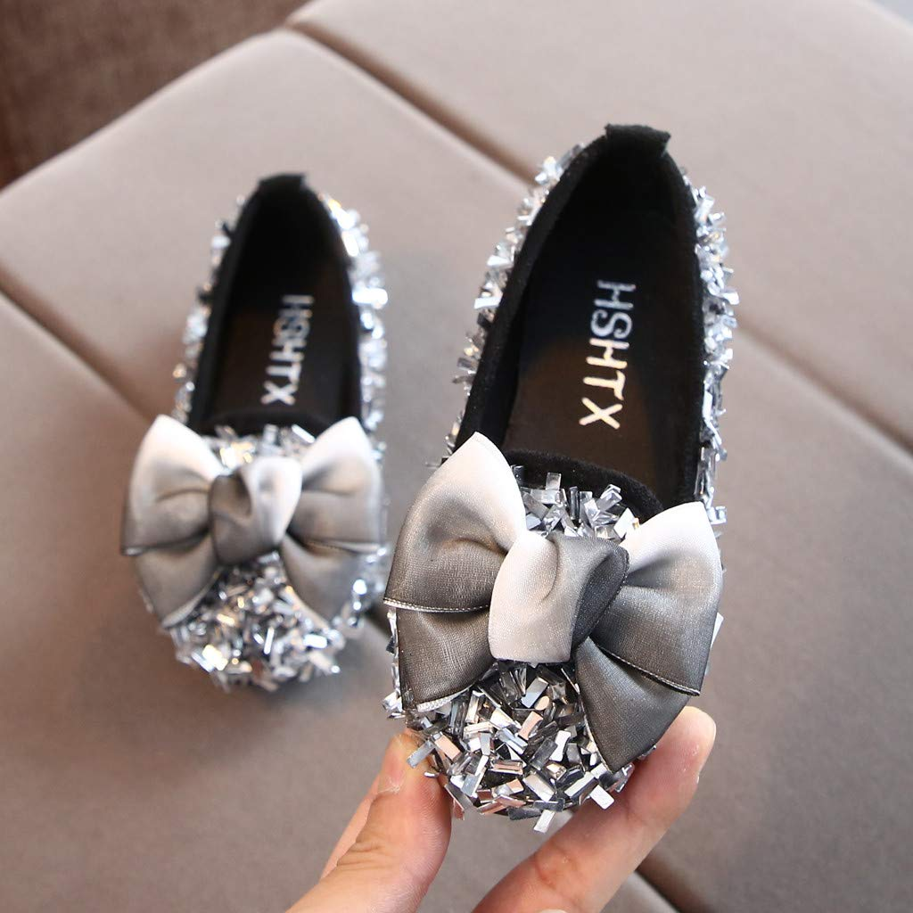 Baby Toddler Girl Children Princess Shoes Mary Jane Flats for 1-10 Years Old Teen Bow Crystal Bling Casual Shoes