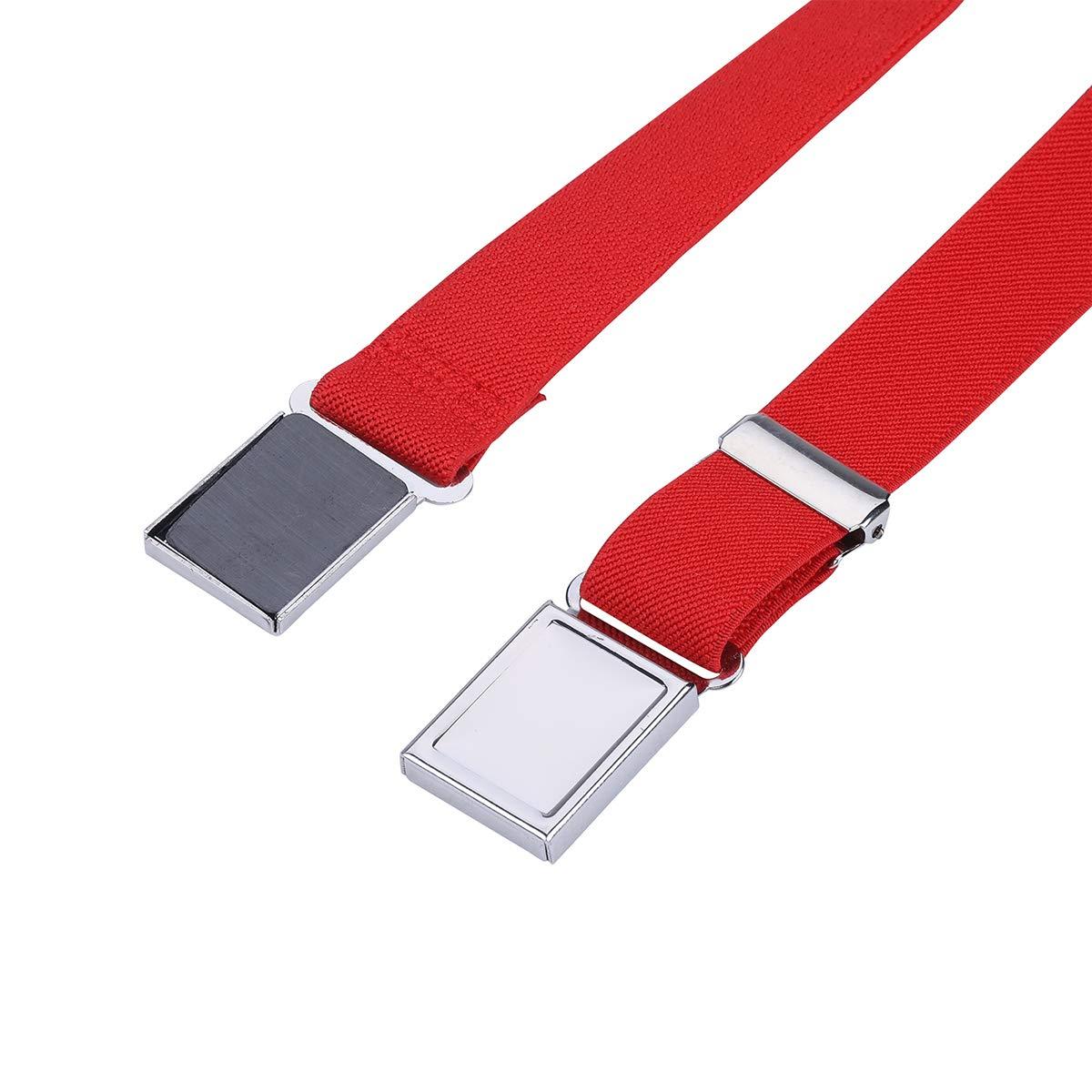 Wine red and white wave point//Black ripple Kids Toddler Elastic Magnetic Belt Adjustable Magnetic Buckle Stretch Belts for Boys Girls by WELROG