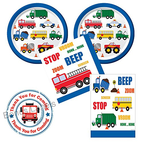 Traffic Jam Trucks Birthday Party Supplies - Large Plates, Napkins, Tablecover - for 16 guests - plus bonus labels -