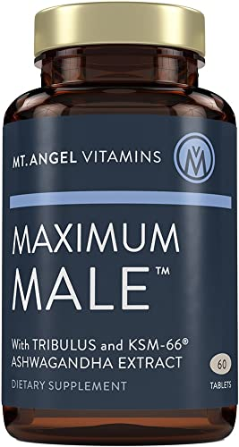 Mt. Angel Vitamins – Maximum Male with KSM-66 High Potency Ashwaganda, Tribulus Terrestris, Horny Goat Weed, Ginkgo Biloba and Oysters