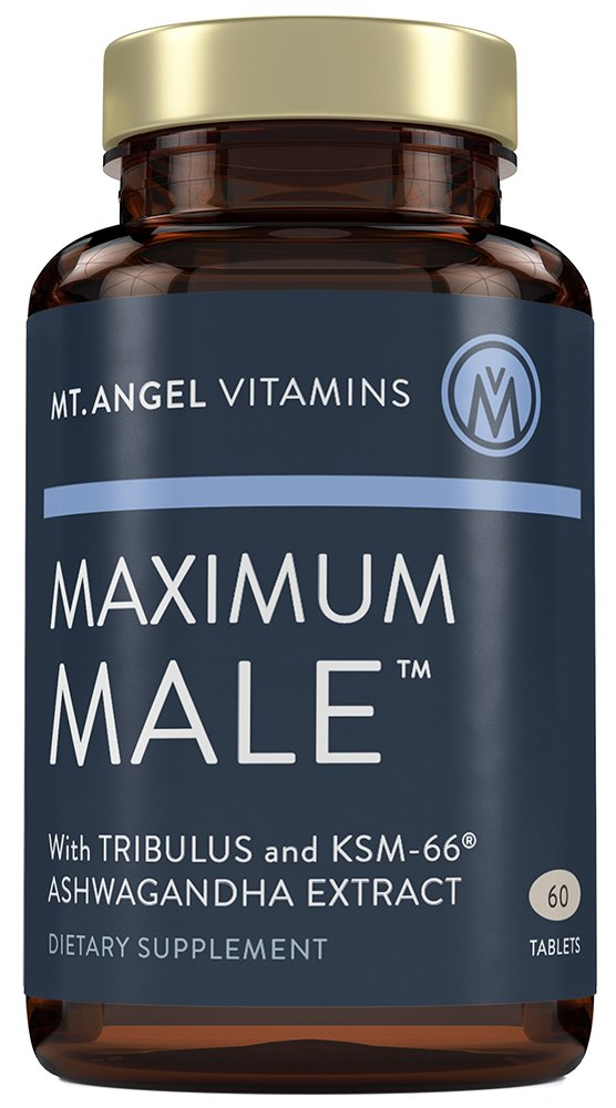 Mt. Angel Vitamins - Maximum Male with KSM-66 High Potency Ashwaganda, Tribulus Terrestris, Horny Goat Weed, Ginkgo Biloba and Oysters