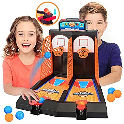 SGYH Desktop Basketball Shooting Board Game, 2-Player Desktop Pinball Shooting Machine Game, Play Station Toy for Kids and Adults (1 Set Basketball Toy): Toys & Games