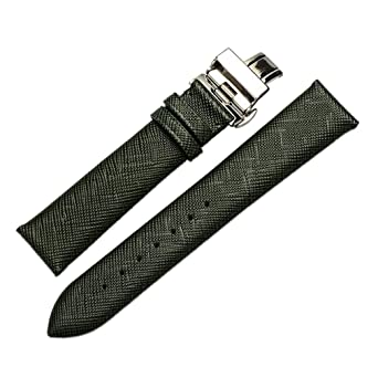 22mm High Grade Luxury Dressy Leather Watch Bands Replacement Straps Medium Padded Green Deployment Clasp