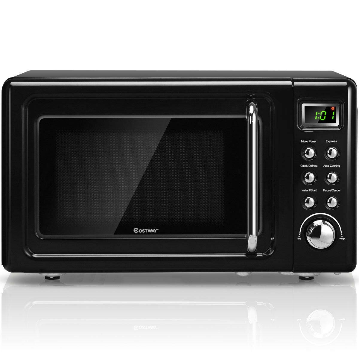 Costway Retro Countertop Microwave Oven, 0.7Cu.ft, 700-Watt, Cold Rolled Steel Plate, 5 Micro Power, Defrost & Auto Cooking Function, Delayed Start Function, with Glass Turntable & Viewing Window, LED Display, Child Lock (Black)