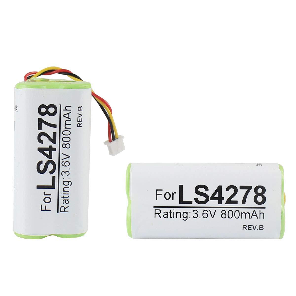 2-Pack Battery for Motorola Symbol LS4278 LS4278-M LI4278 DS6878 Barcode Scanner 800mAh 3.6V Ni-Mh PN 82-67705-01 BTRY-LS42RAAOE-01 Partshe