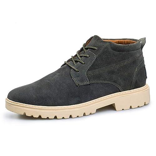 Hombre Botas Casuales Alto-Top Tobillo Cuero Entrenadores Zapatillas de Invierno Nieve Pisos de Negocios Zapatos: Amazon.es: Zapatos y complementos