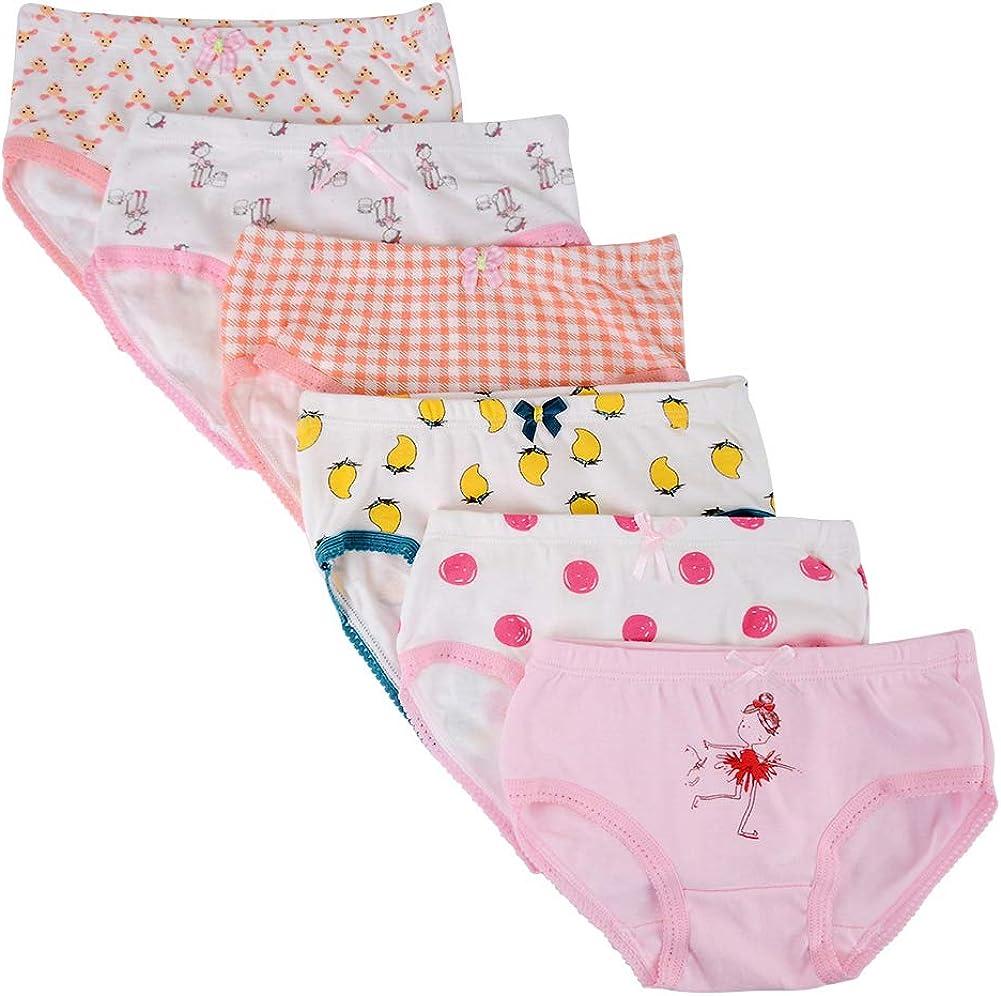 Paquet de 6 Kidear Culottes Douces en Coton de la S/érie pour Enfants de Culottes Assorties des Petites Filles