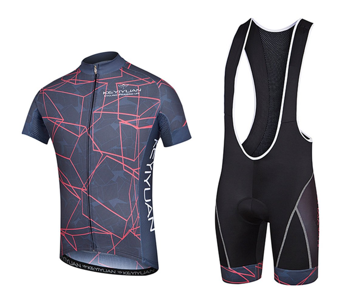 Uriahメンズ自転車ジャージBib Shortsセット半袖with Backファスナー付きバッグ B06XCT6L8Y Chest 40.9''=Tag XXL|Cube Red Cube Red Chest 40.9''=Tag XXL