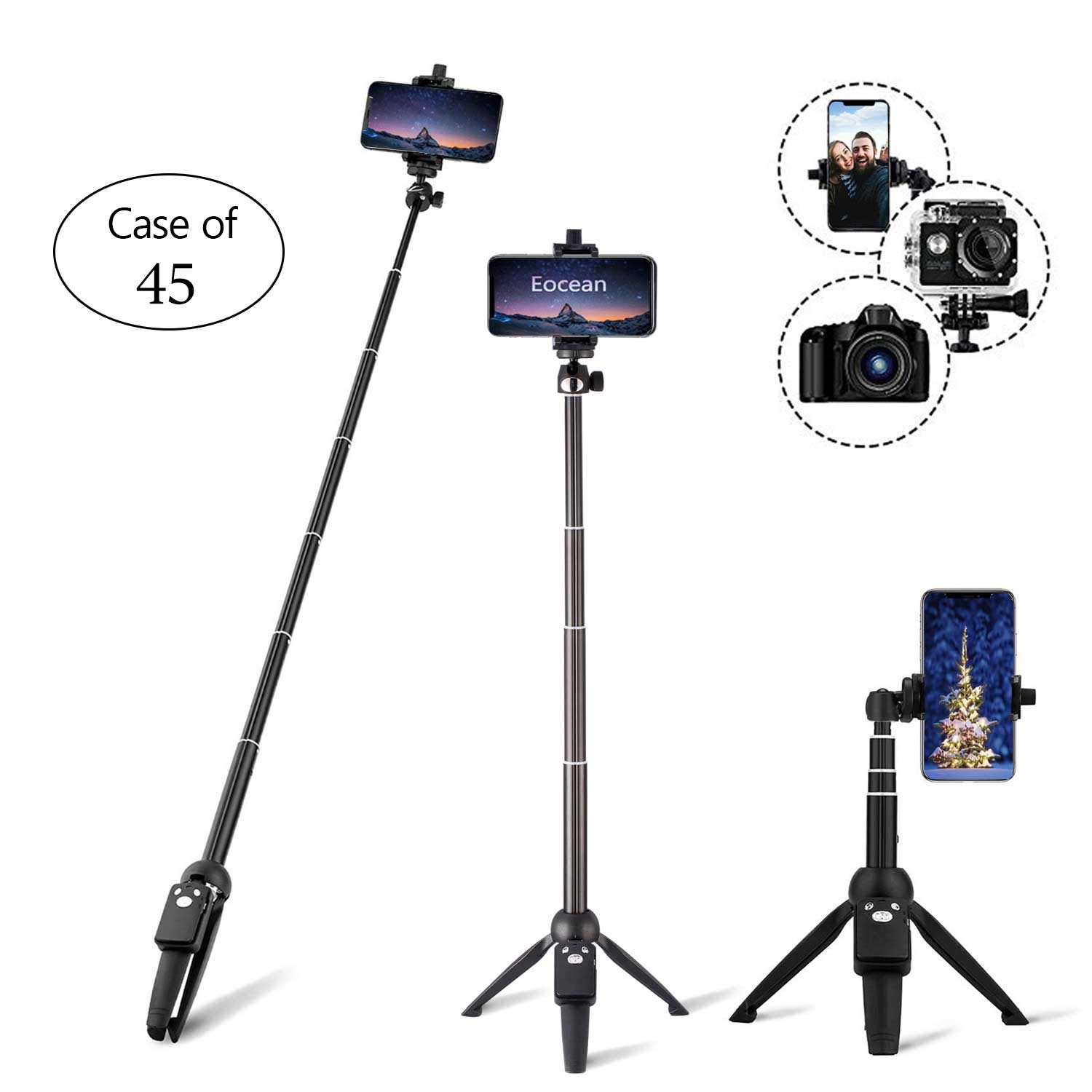Case of 45, Eocean Selfie Stick, 40 Inch Extendable Selfie Stick with Wireless Remote, Compatible with iPhone/Galaxy Note 9/S9/S9 Plus/Google/Huawei/Xiaomi