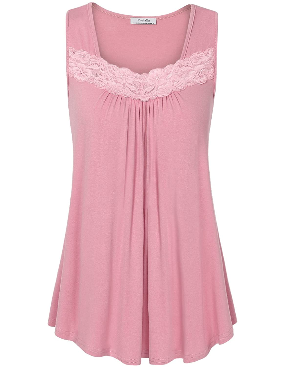 4b019f28 Top4: Youtalia Womens Summer Sleeveless Tops Lace Scoop Neck Pleated Front  Office Tank