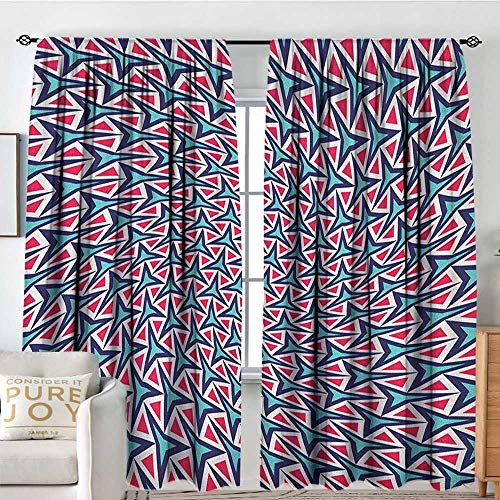NUOMANAN Kitchen Curtains Trippy,Geometric Shapes in Abstract Design Retro Optical Illusion Hipster, Turquoise Indigo Dark Coral,Darkening and Thermal Insulating Drapes - 96 Wheel Optical