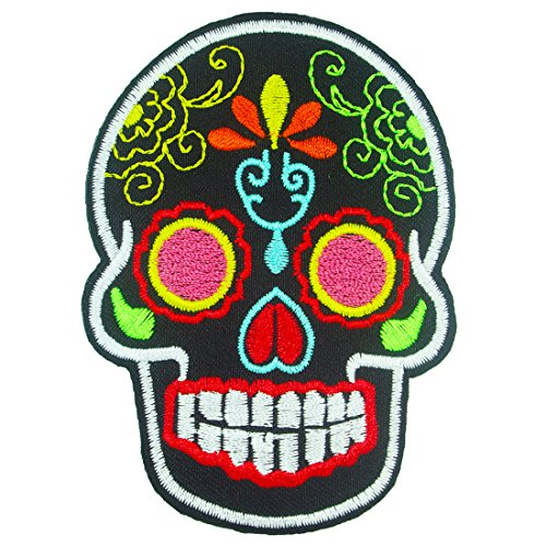[Day of the Dead Mexican Sugar Skull Iron on Embroidered Patches / Black] (Old School Basketball Halloween Costume)