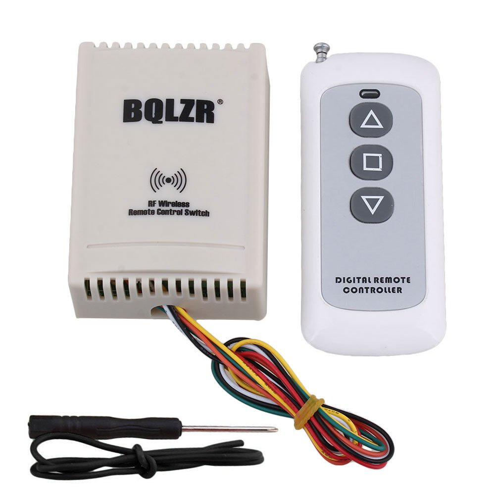 BQLZR 433Mhz DC12V 10A 2CH Wireless RF Motor Remote Controller Control Limit Switch Long Range 150M Default Interlocked Up Stop Down 3 Buttons Transmitter for Electric Machine