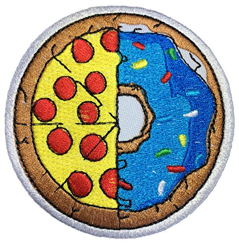 [Papapatch Half Pizza & Donut Food Logo Cooking Chef Kid Baby Symbol Jacket T-shirt Costume DIY Applique Embroidered Sew Iron on Patch] (Half Doll Half Zombie Costume)