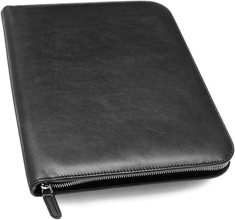 Maruse Personalized Italian Leather Executive Portfolio Padfolio, Folder Organizer with Zip Closure and Writing Pad, Handmade in Italy, Black