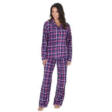 8e47ebda00 Forever Dreaming Ladies Printed Microfleece Pyjama Set - Checked PJ Shirt    Bottoms  Amazon.co.uk  Clothing