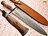 RAM-D-97, Handmade Damascus Steel 18 Inches Dagger/Hunting Knife - Solid Marindi Wood Handle With Demascus Steel Guard / pommel