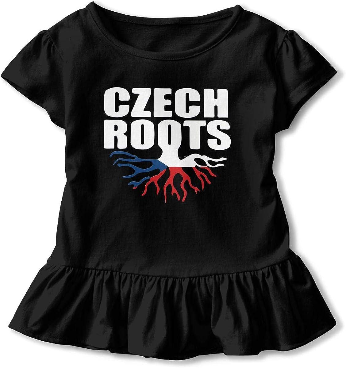 Cheng Jian Bo Czech Roots Toddler Girls T Shirt Kids Cotton Short Sleeve Ruffle Tee