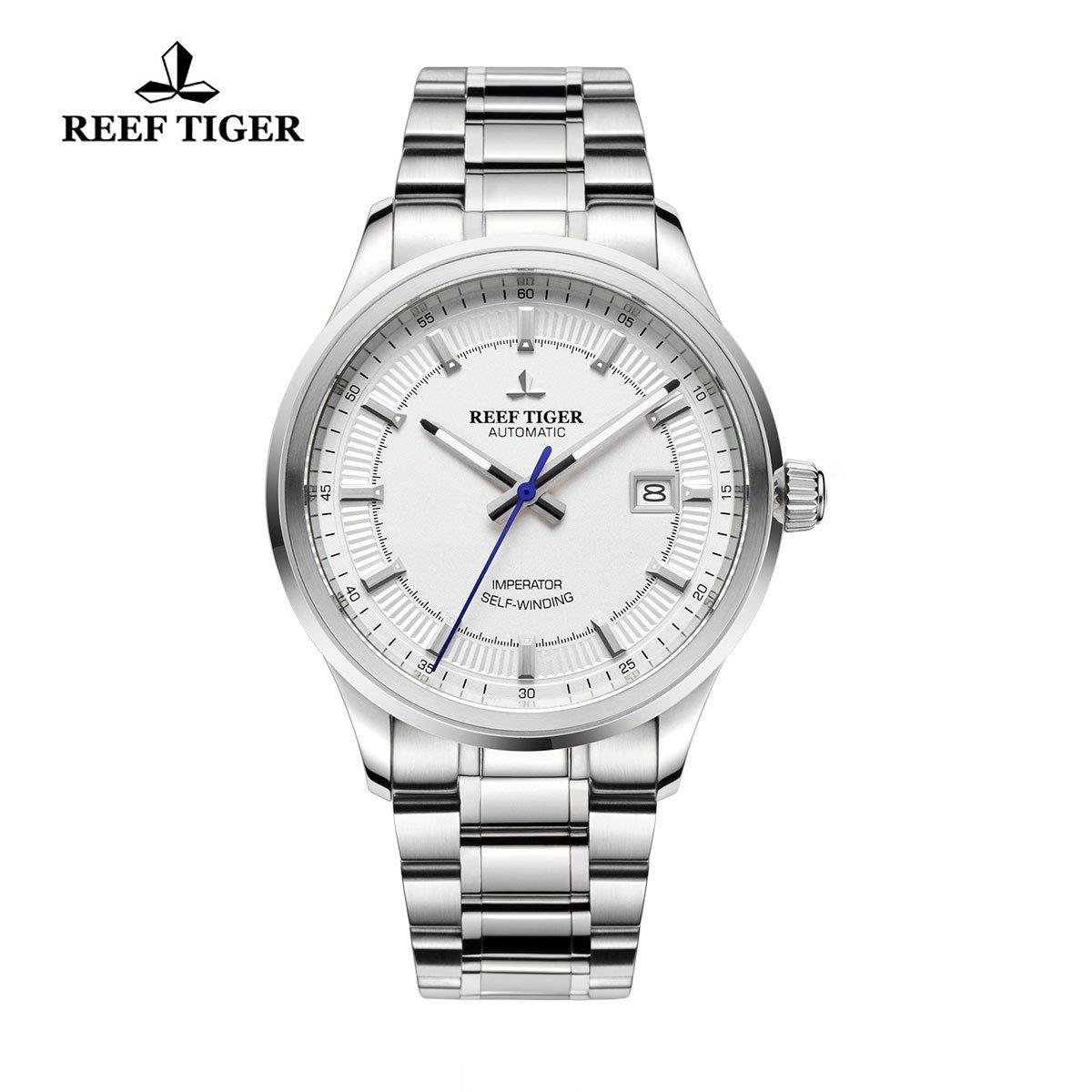Reef Tiger 自動巻き 日付表示 ビジネス 腕時計 ホワイト RGA8015 B01EMNXFF2