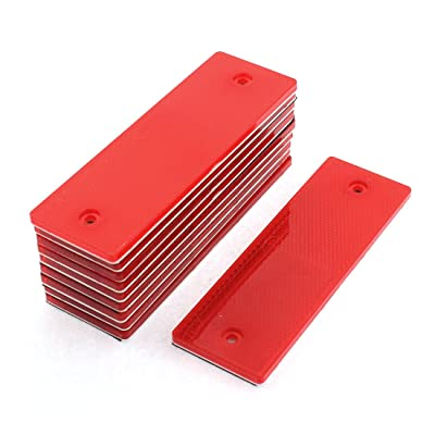 uxcell 10 Pcs Red Plastic Rectangular Stick-on Car Reflector Sticker: Automotive [5Bkhe0909649]