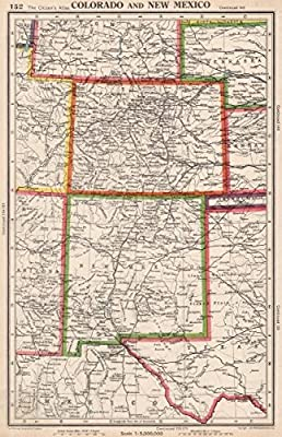 Map New Mexico Colorado Amazon.com: COLORADO AND NEW MEXICO. USA state map. BARTHOLOMEW