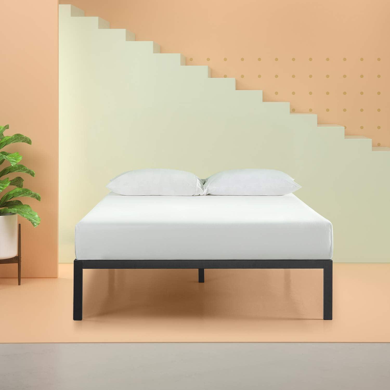 Zinus Modern Studio Platform 1500 Metal Bed Frame Mattress Foundation, no Boxspring needed, Wooden Slat Support, Twin Renewed