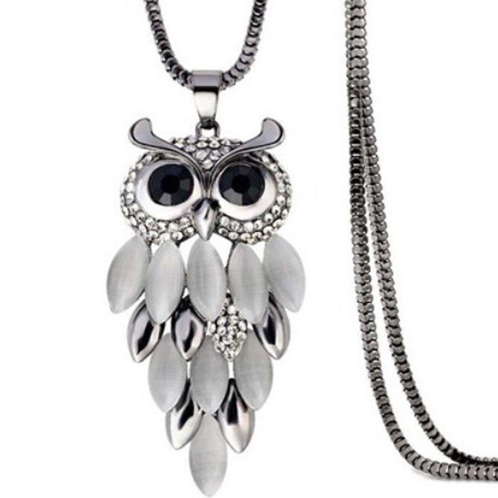Mnyycxen Deals Owl Pendant Necklace Women Vintage Glass Cabochon Necklace Jewelry