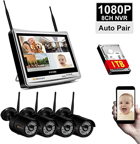 Newest Strong WiFi Version Security Camera System Wireless, Jennov 4 Channel Wireless WiFi Security Camera System 1080P Outdoor Home IP Cameras Video Surveillance With 12 Monitor NVR, 1TB Hard Drive