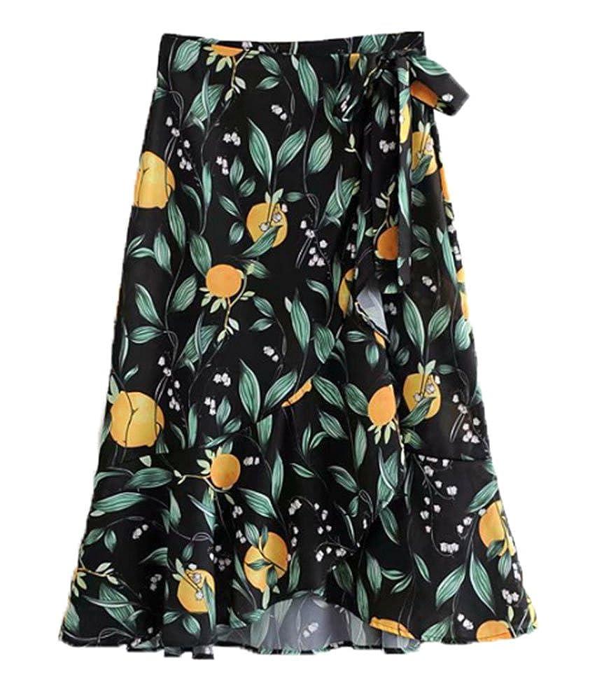 Falda de Estampado Floral de Verano para Mujer con cinturón de ...