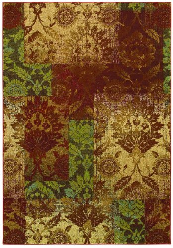 Couristan Alameda Ethereal Garden Rug, 9-Feet 9-Inch by 13-Feet, Paprika/Beige