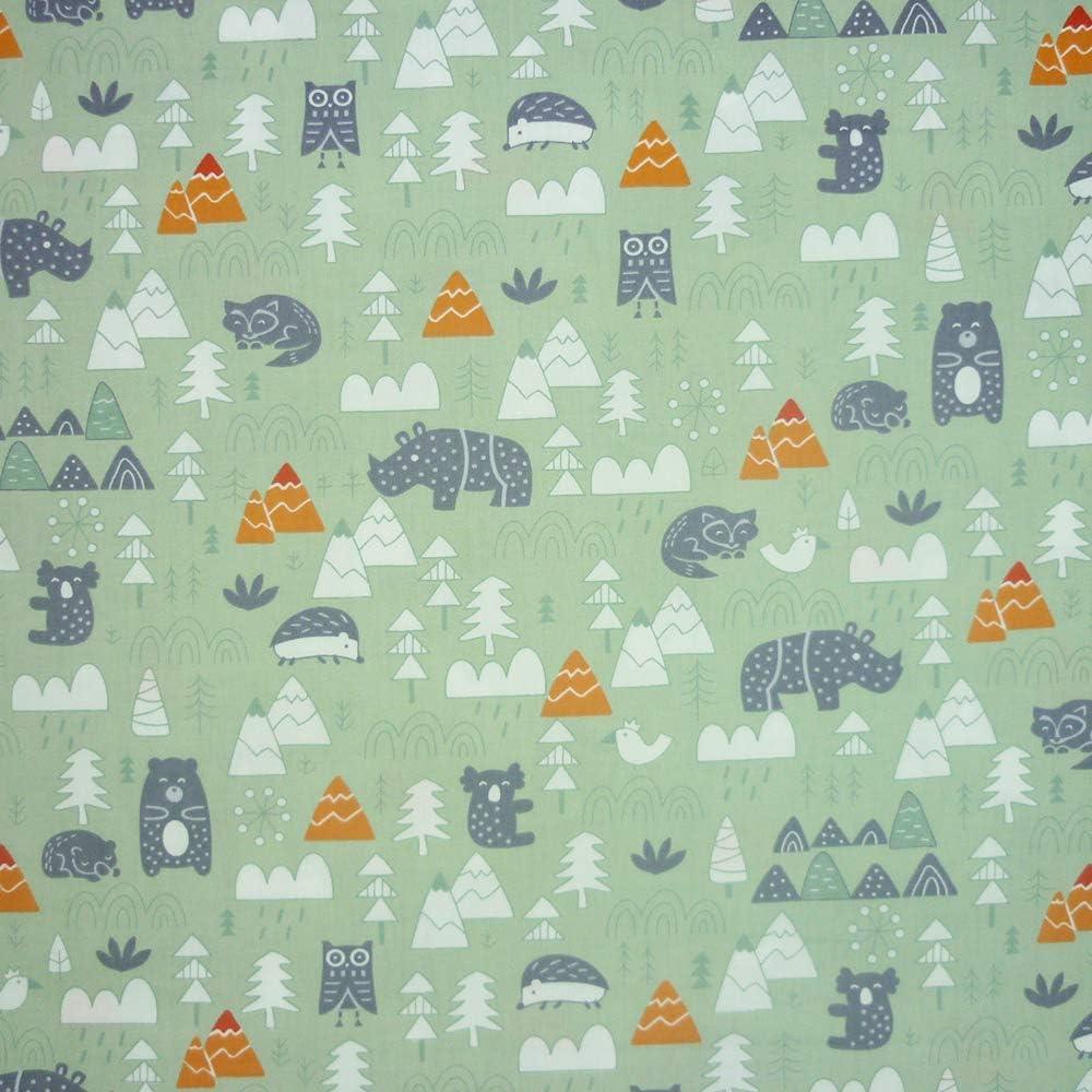 Kunst f/ür Patchwork Scrapbooking Stoffquadrate mit Nashorn- und B/är-Drucken Basteln 8 St/ück N/ähen Quilting 40 x 50 cm 100//% Baumwolle Set
