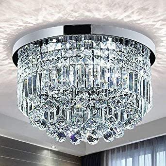Saint Mossi Modern K9 Crystal Raindrop Chandelier Lighting Flush Mount LED Ceiling Light Fixture Pendant Lamp for Dining Room Bathroom Bedroom ...