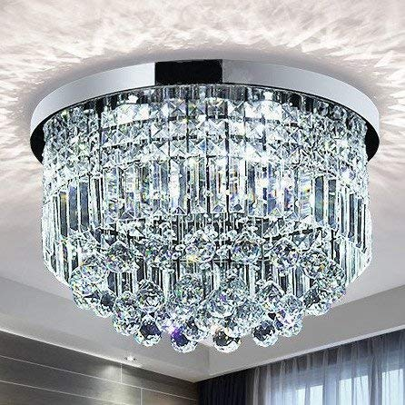 Saint Mossi Modern K9 Crystal Raindrop Chandelier Lighting Flush Mount LED Ceiling Light Fixture Pendant Lamp for Dining Room Bathroom Bedroom Livingroom 9 E12 LED Bulbs Required Height 11 x Width 20 (Led Lamps Pendant)