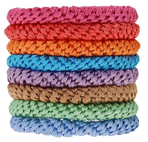 L. Erickson Grab & Go Ponytail Holders, Spring, Set of Eight - Exceptionally Secure with Gentle Hold