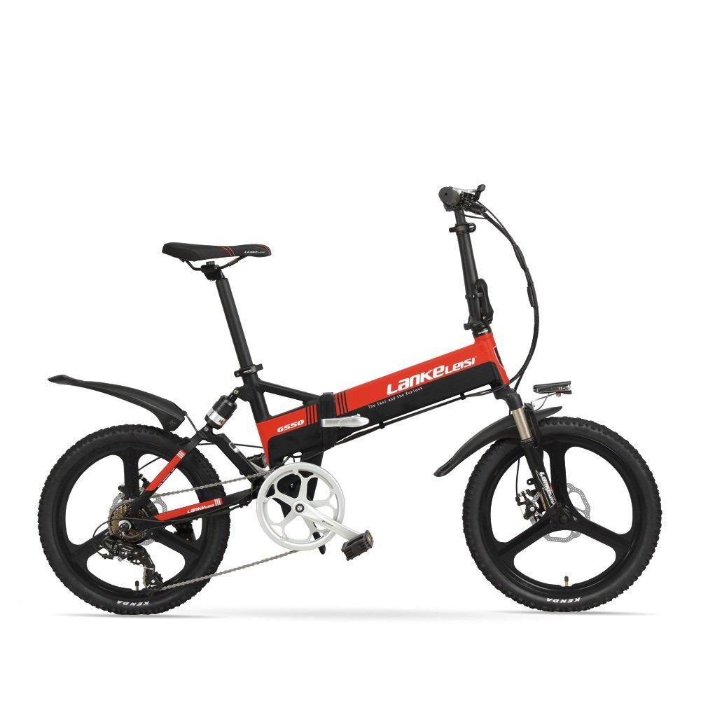 VTSP G550 20インチ 折りたたみ 電動アシスト自転車 アルミフレーム 電動アシスト自転車 シマノ7段変速 ミニタイプ 36V8.8ah セール限定 B076Q91ZCW  黒と赤